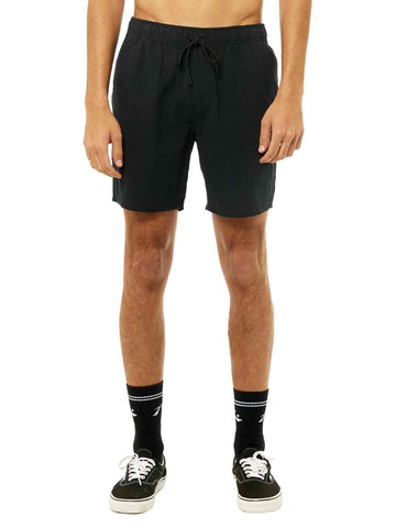 Overtone Elastic Linen Short - Washed Black