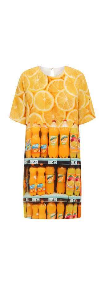 T SHIRT DRESS - ORANGE FIZZ