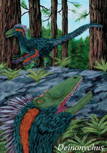 Load image into Gallery viewer, Painting of the dinosaur Deinonychus in green feathers in a forest