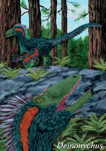 Painting of the dinosaur Deinonychus in green feathers in a forest