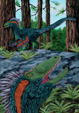 Load image into Gallery viewer, Colored drawing of two Deinonychus in a forest feathered and green