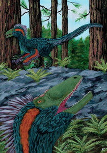 Colored drawing of two Deinonychus in a forest feathered and green