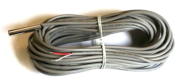 1WT_6SSP_1_10m_2w: 1-Wire Temperature sensor with stainless steel probe and 10m long, 2-wire cable.