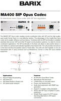 Barix MA400 SIP Opus Codec: Bi-directional Encoder/Decoder with PoE