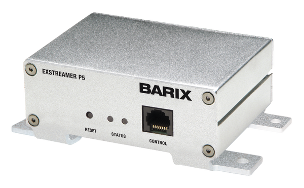 Barix Exstreamer-P5:  POE Enabled IP-Audio Decoder with built-in amplifier.
