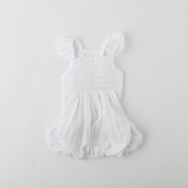 Cotton lace shirring romper