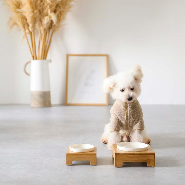 Bamboo food bowl stand SMALL