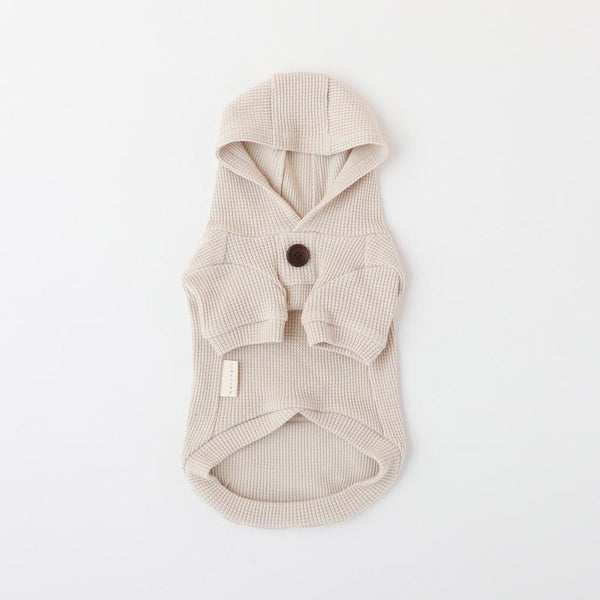 Wood button waffle parka