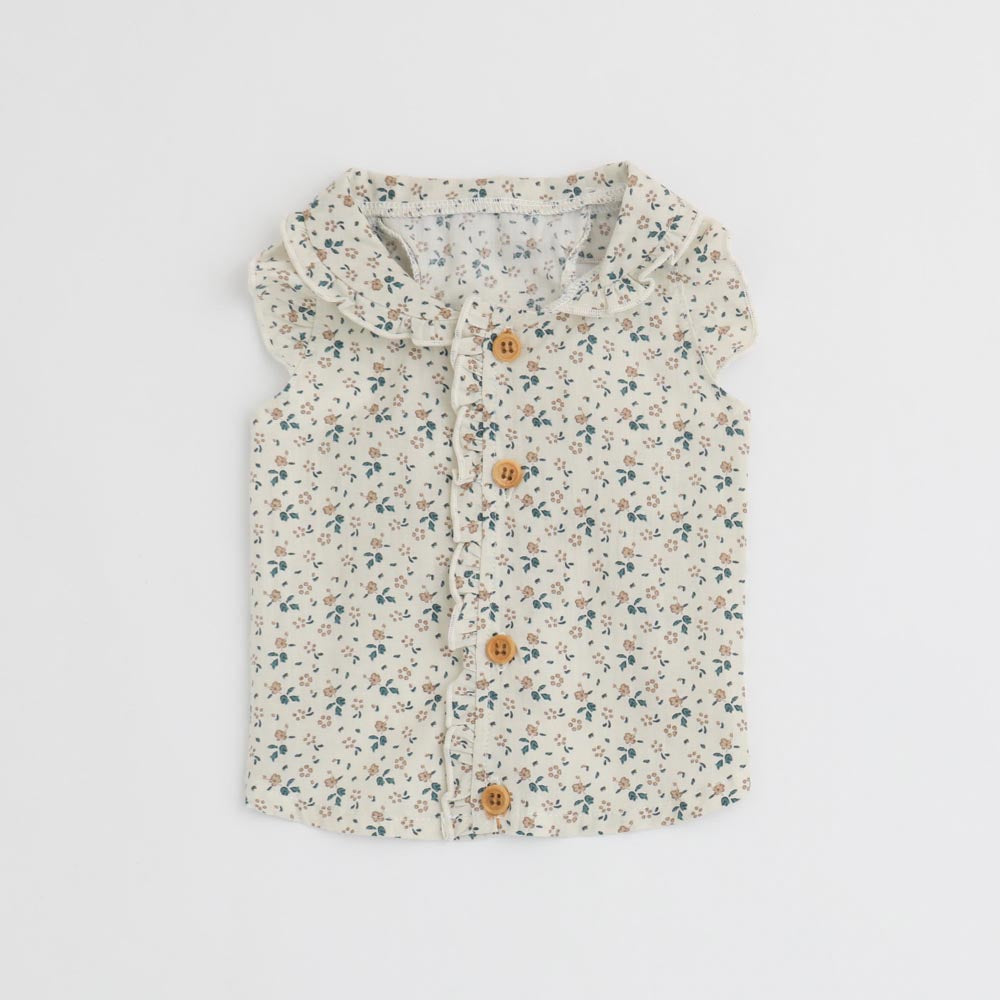 cotton flower frill blouse
