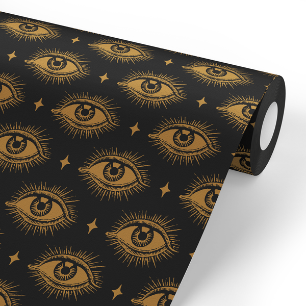 Eye Pattern Wallpaper (Black and Gold)
