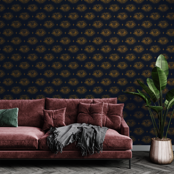 Eye Pattern Wallpaper (Navy and Gold)