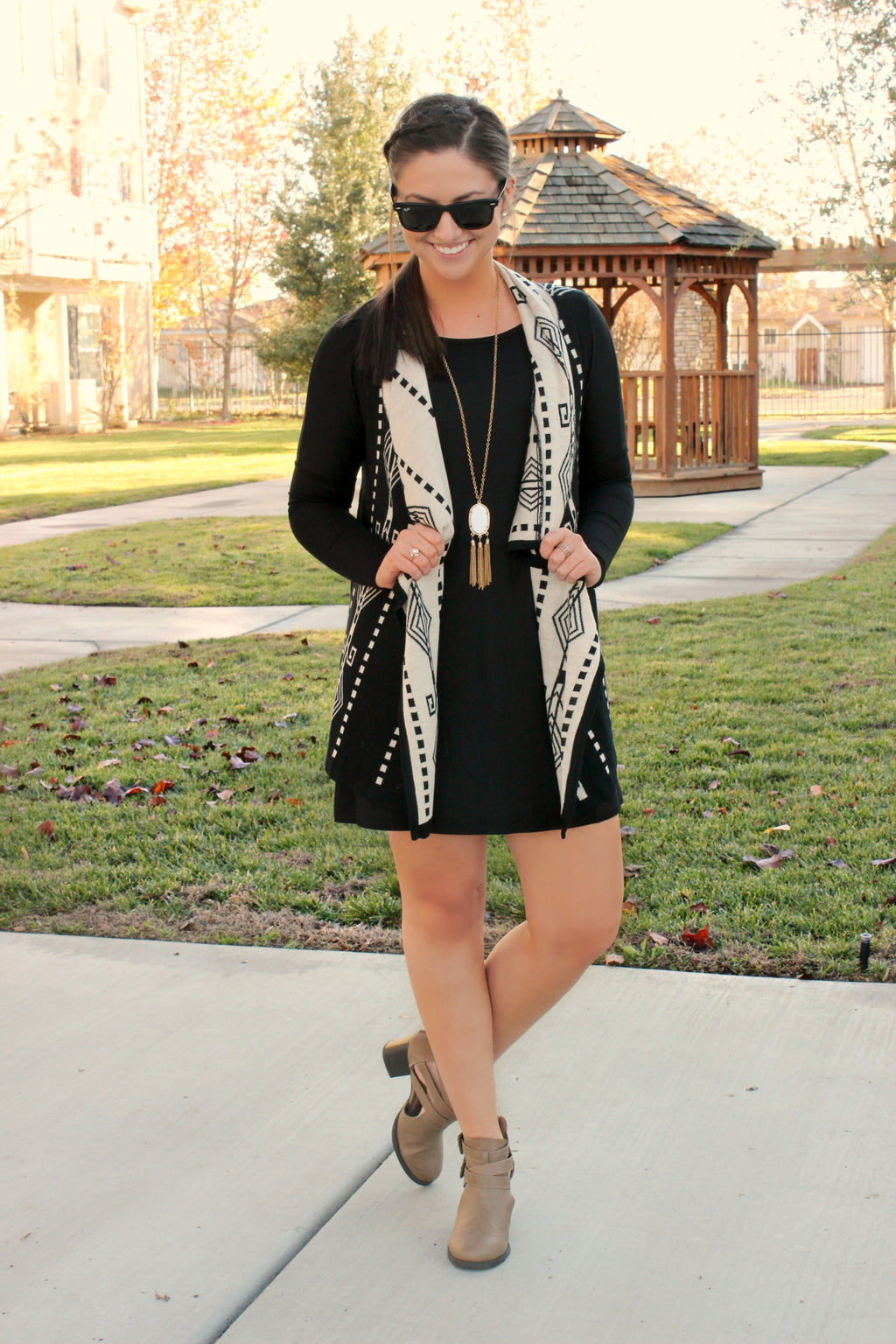 Leave With Me Tunic Dress- Black - Leah B. Boutique