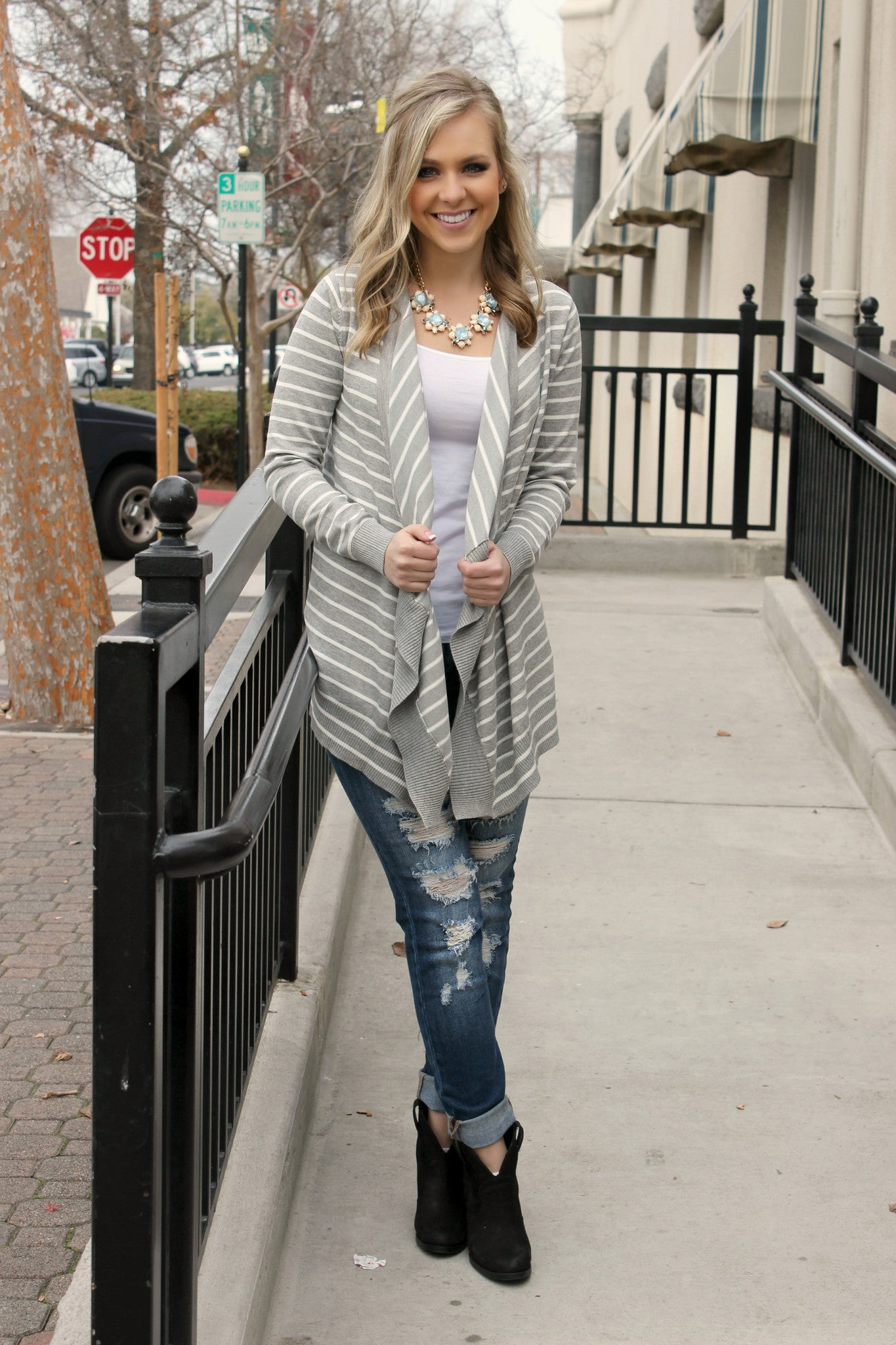 Tell Me More Cardigan- Grey - Leah B. Boutique