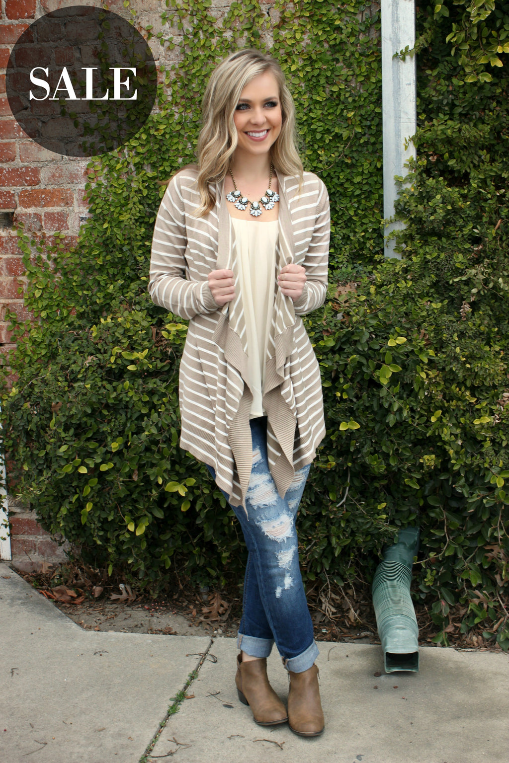 Tell Me More Cardigan- Taupe - Leah B. Boutique