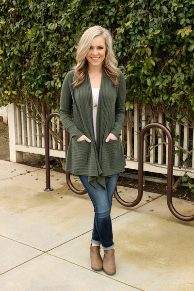 Got My Mind Made Up Cardigan- Olive