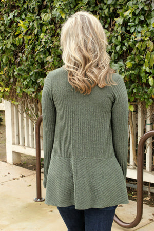 Got My Mind Made Up Cardigan- Olive - Leah B. Boutique