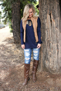 Give It All We Got Vest- Mocha - Leah B. Boutique