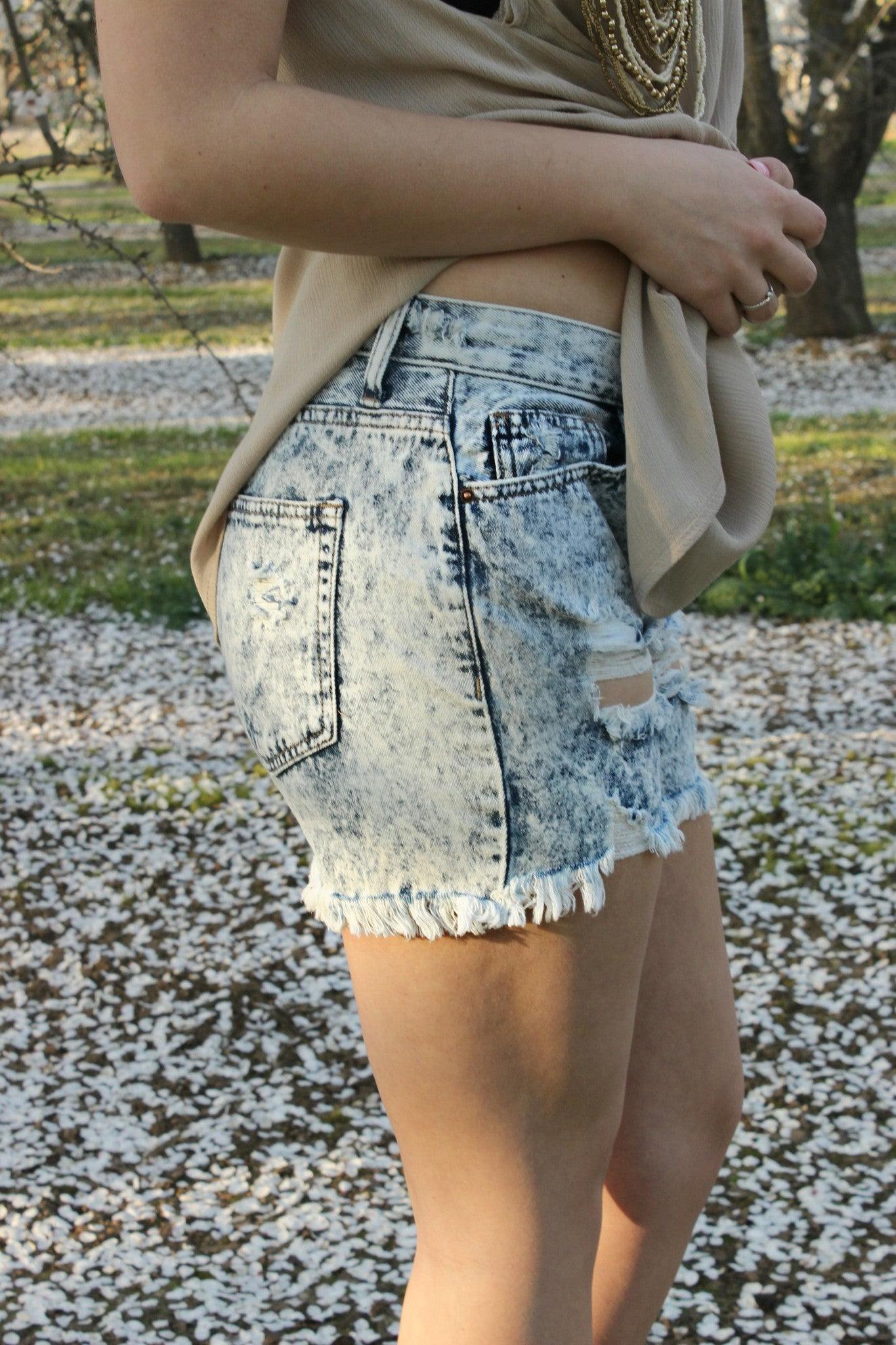 Washed Away Shorts - Leah B. Boutique