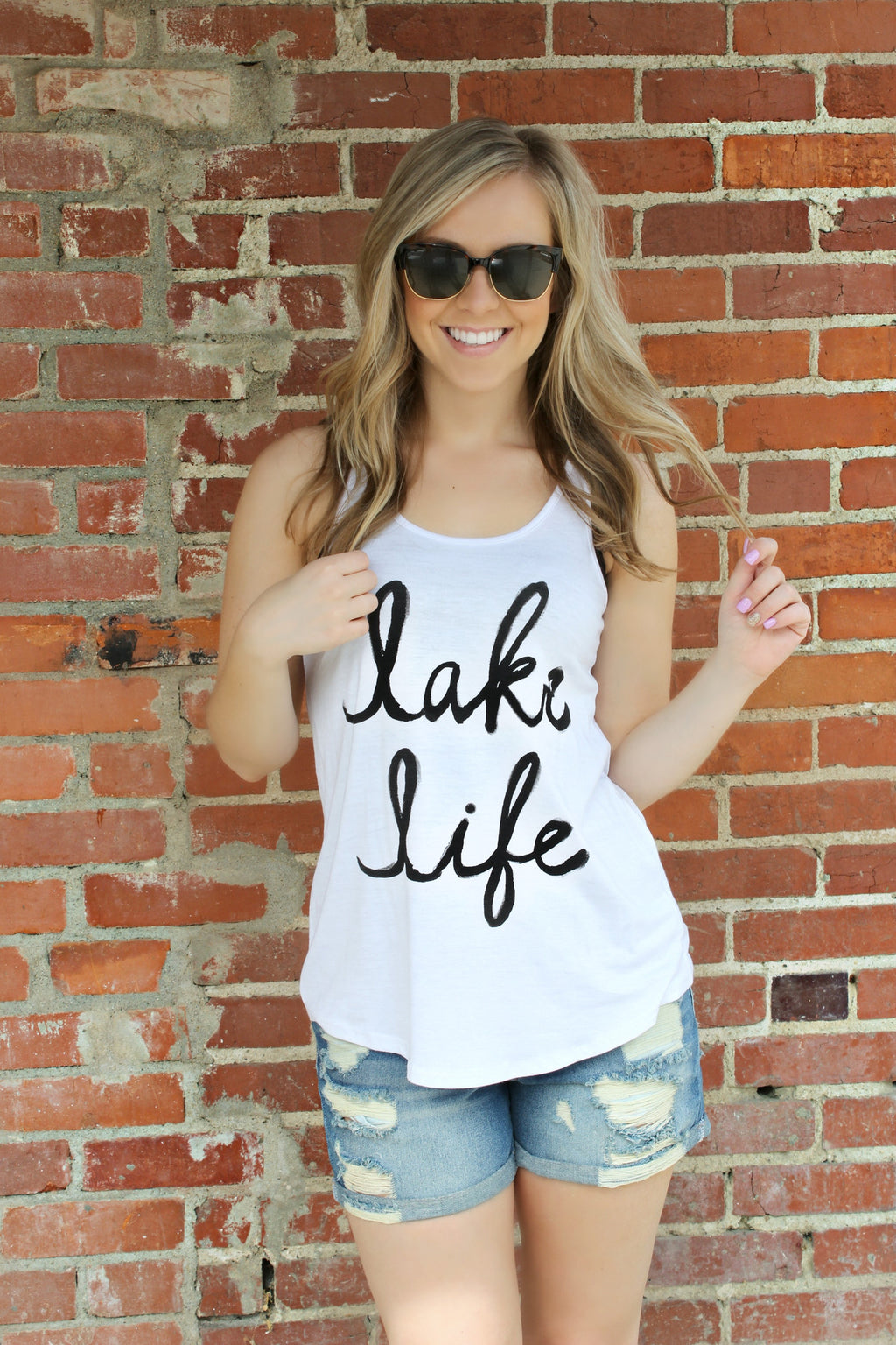Lake Life Tee- White - Leah B. Boutique