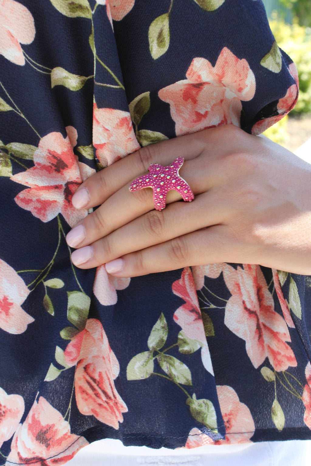 Starfish Ring in Fuchsia - Leah B. Boutique