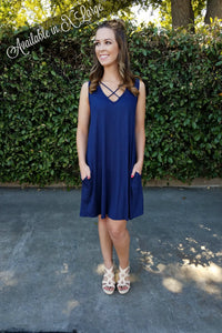 Good Vibes Dress- Navy - Leah B. Boutique