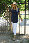Basic Comforts Tee in Navy - Leah B. Boutique