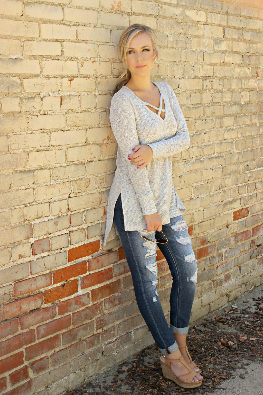 Because of You Blouse - Leah B. Boutique