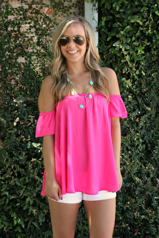 Gone Too Soon Blouse- Fuchsia