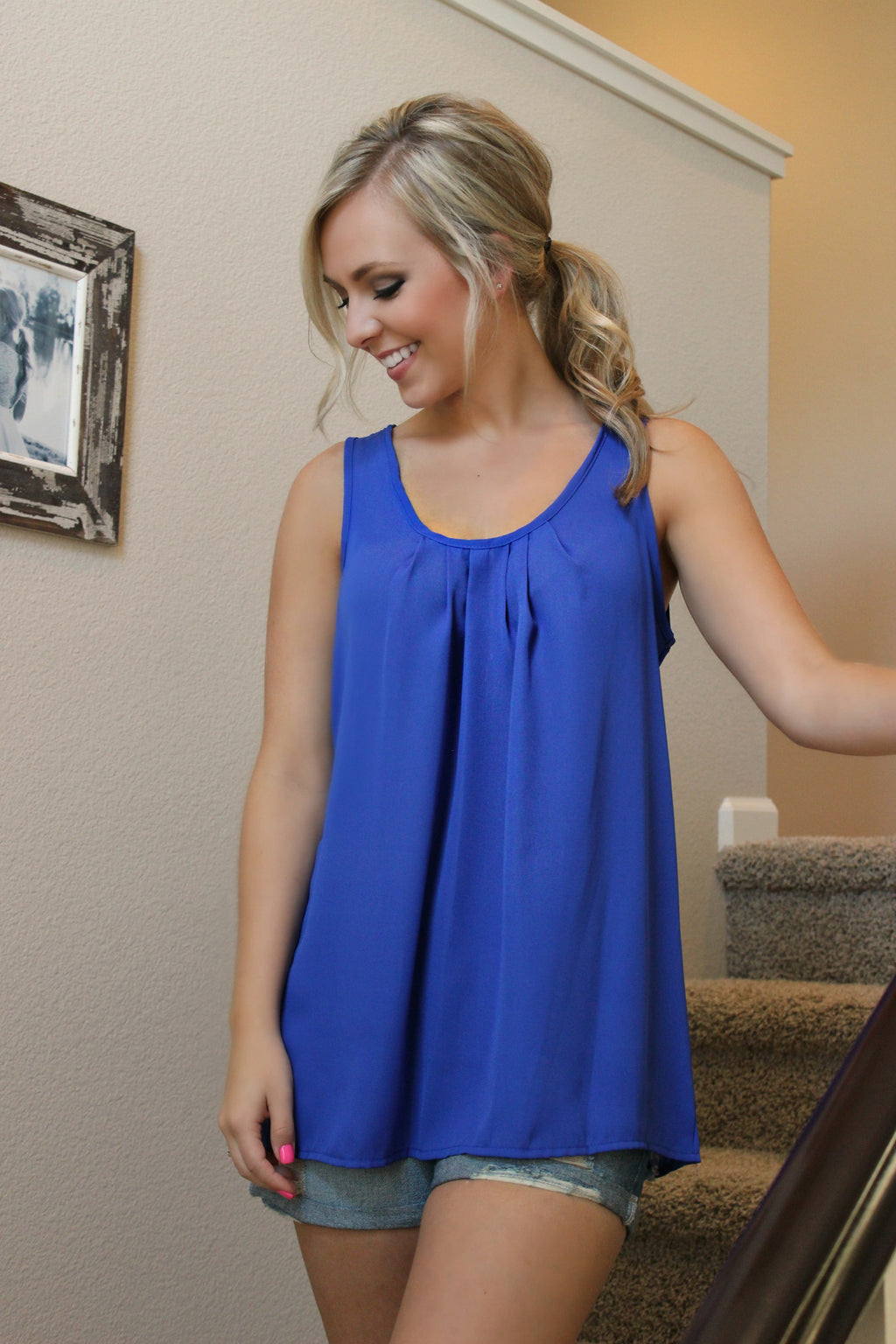Business Casual Blouse- Blue - Leah B. Boutique