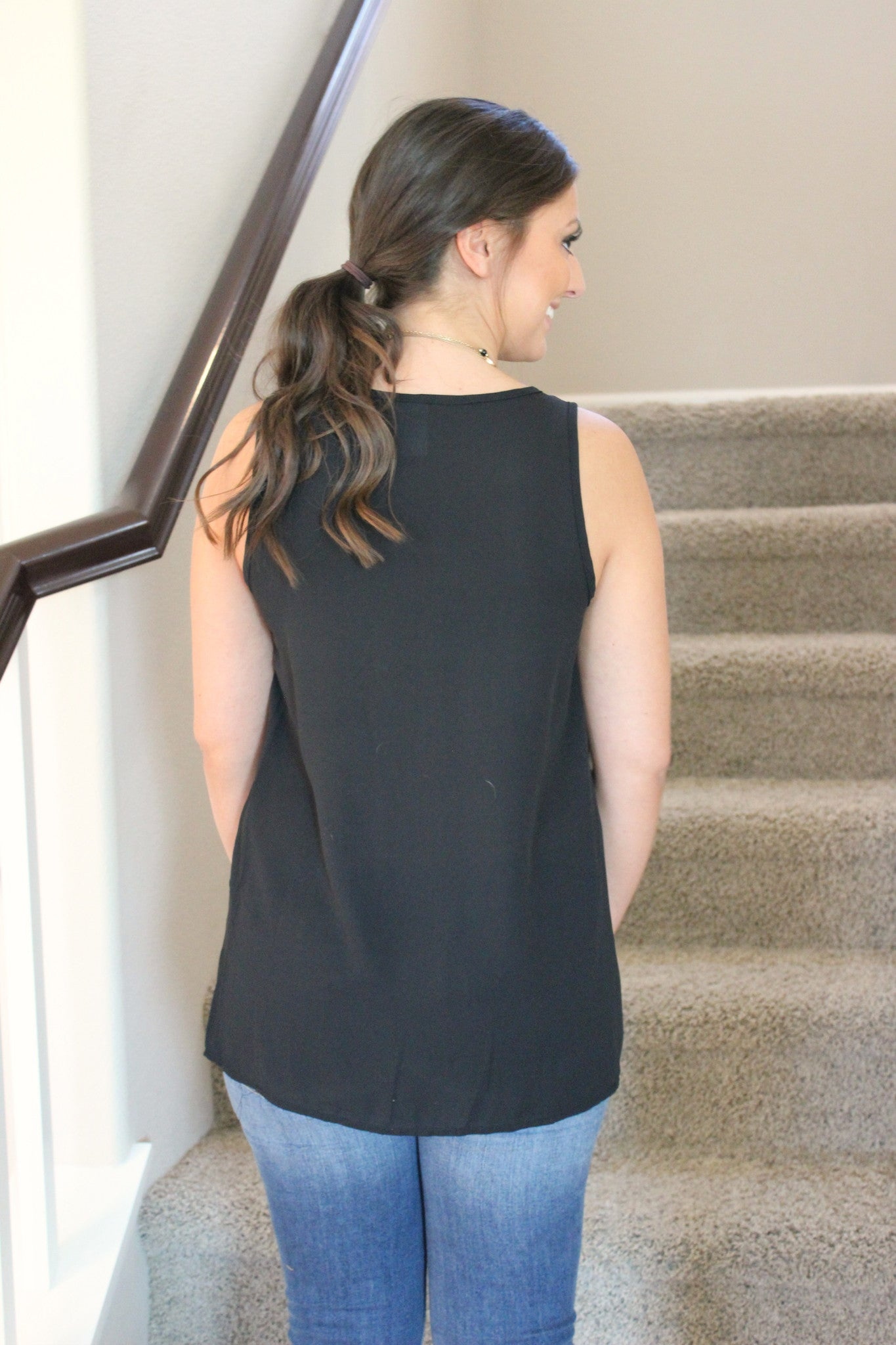 Business Casual Blouse- Black - Leah B. Boutique