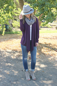Keep Coming Back Cardigan- Plum - Leah B. Boutique