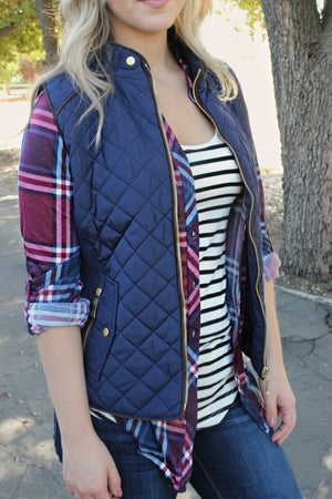 Give It All We Got Vest- Navy - Leah B. Boutique