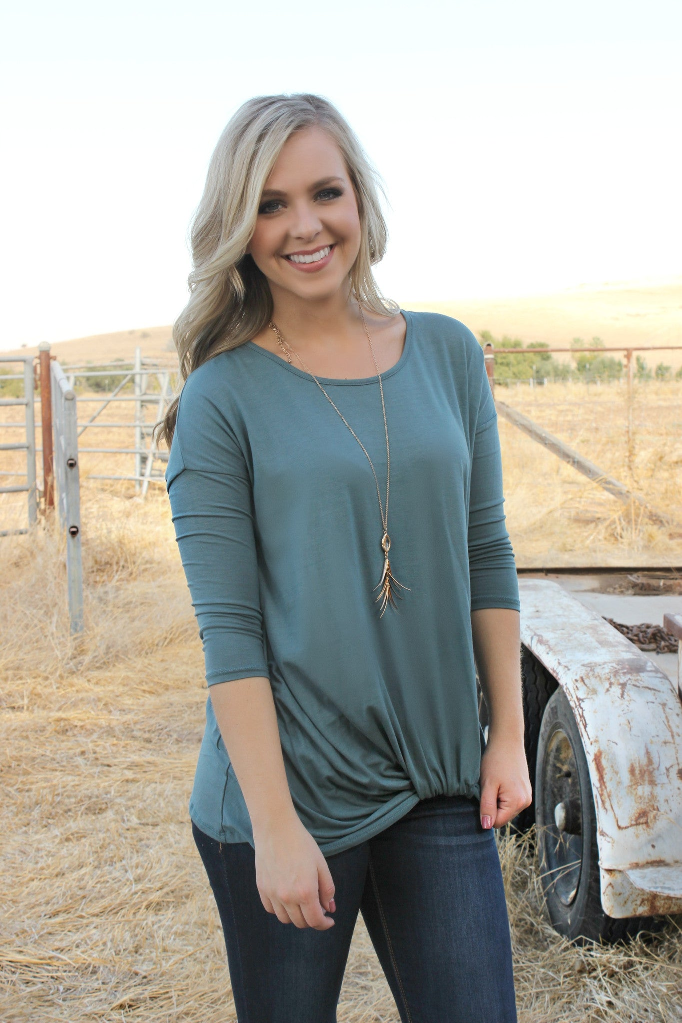 Time Will Tell Blouse- Sea - Leah B. Boutique