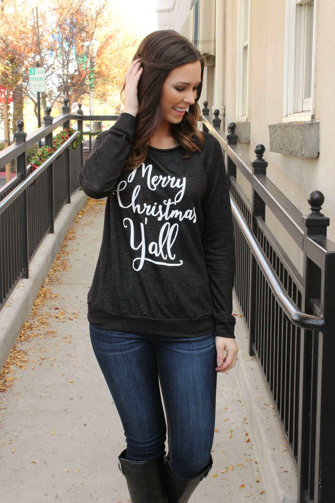 'Merry Christmas Y'all' Blouse - Leah B. Boutique