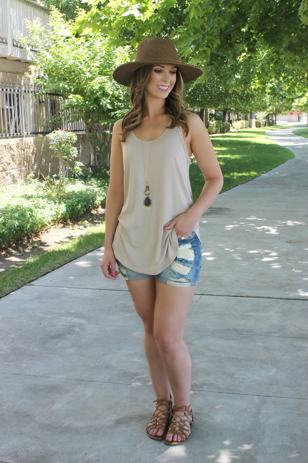 The Essential Tank- Taupe - Leah B. Boutique