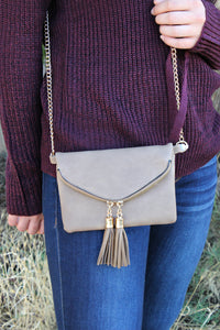 So In Love Clutch- Taupe - Leah B. Boutique