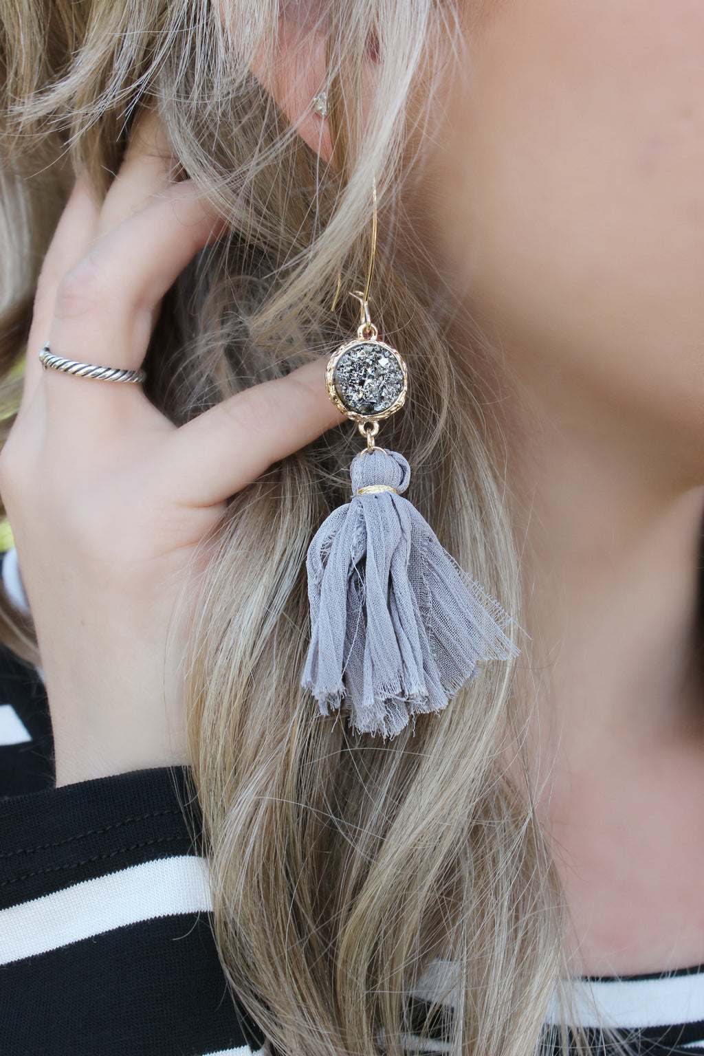 Audrey Earrings- Gray - Leah B. Boutique