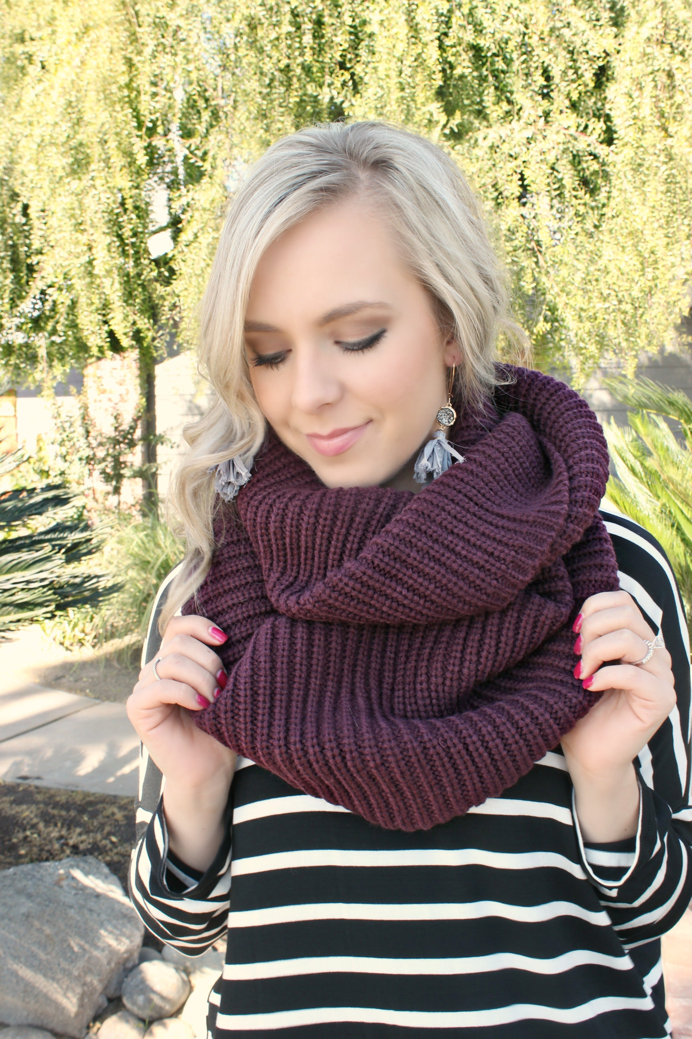 Main Street Scarf in Mulberry - Leah B. Boutique