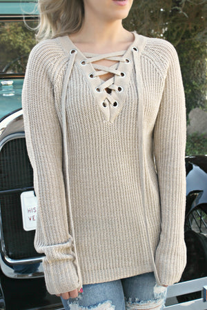 Come Away With Me Sweater- Wheat - Leah B. Boutique