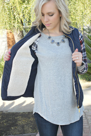 Something to Remember Vest- Navy - Leah B. Boutique