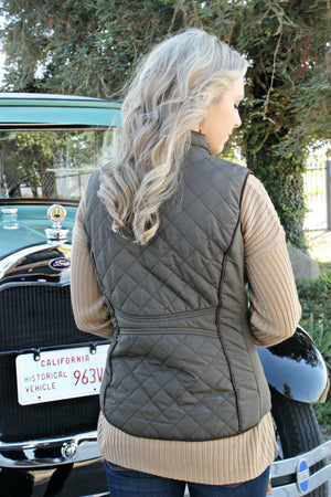 Something to Remember Vest- Olive - Leah B. Boutique