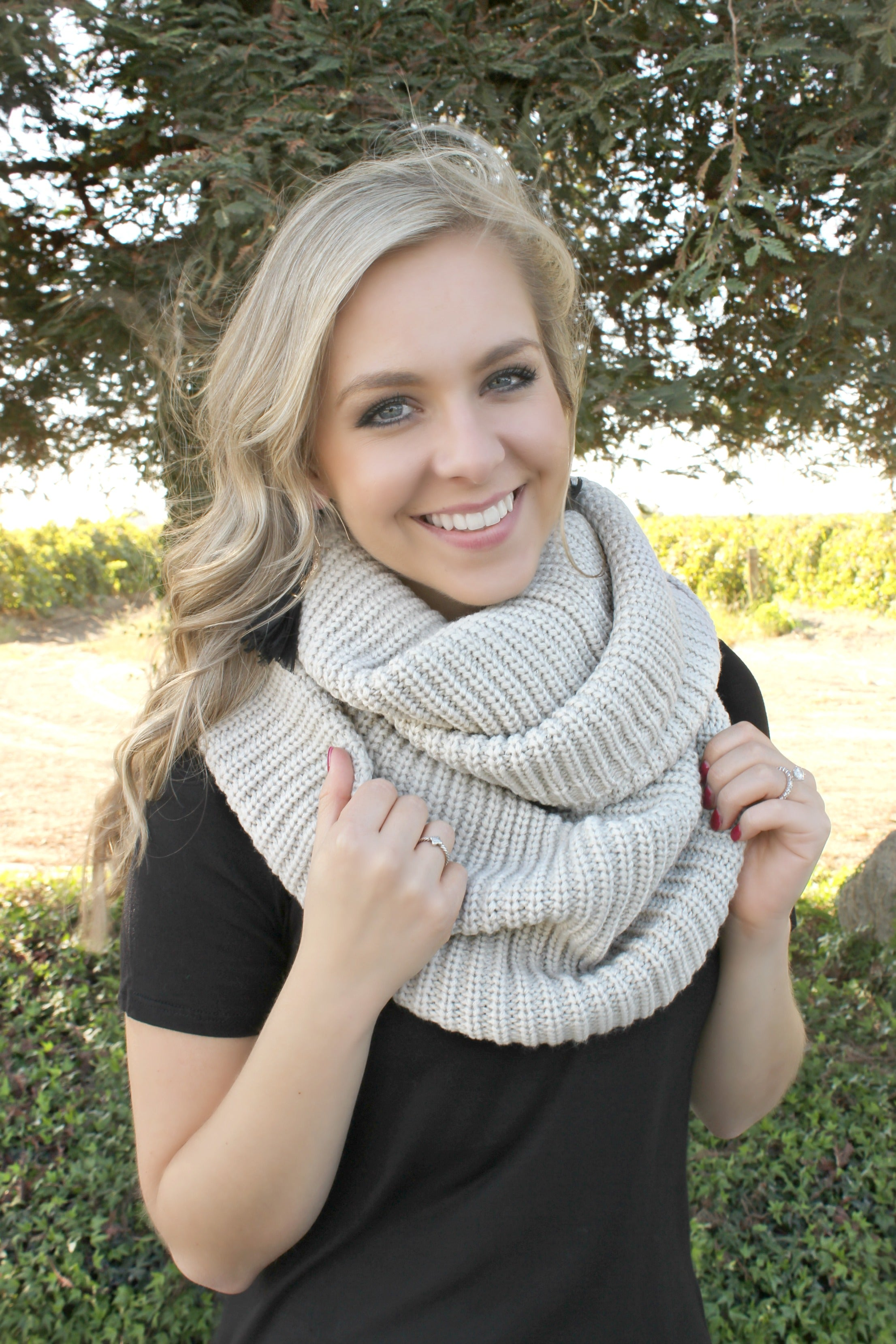 Main Street Scarf in Beige - Leah B. Boutique