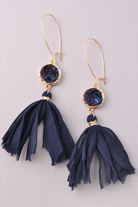 Audrey Earrings-Navy - Leah B. Boutique