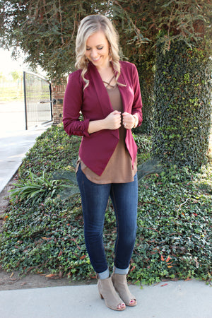 Class Act Blazer in Mulberry - Leah B. Boutique