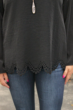 Moments Later Blouse in Black - Leah B. Boutique