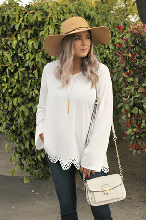 Moments Later Blouse in White - Leah B. Boutique