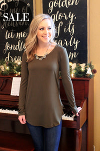 Bare Essentials Tee- Olive - Leah B. Boutique