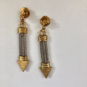 80's Twisted Rope Dangle Earrings