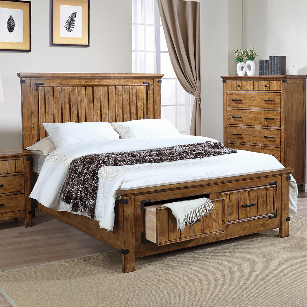 Brenner Rustic Honey Full Storage Bed