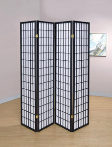 Transitional Black Four-Panel Screen image